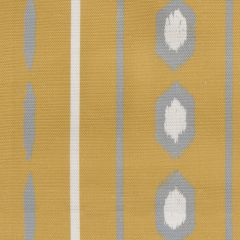 'Ikat' Geometric Stripes Designer Fabric in Yellow Ochre & Stone