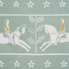 'Journeyman' Horse Designer Fabric in Duck Egg