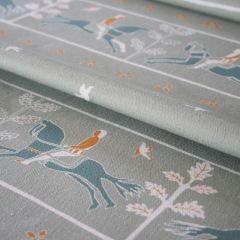'Journeyman' Horse Designer Fabric in Elephant Grey