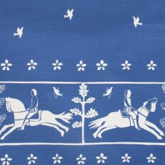 'Journeyman' Horse Designer Fabric in Lapis Blue