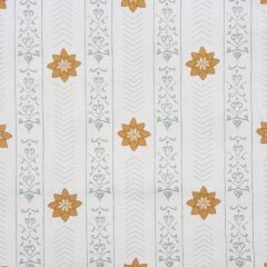 'Valencia' Floral Leaf Designer Fabric in Duck Egg & Yellow Ochre