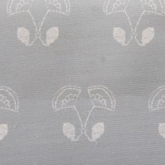 'Floral Duet' Flower Motif Designer Fabric in Stone Grey