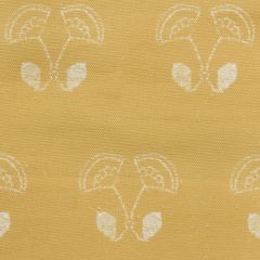 'Floral Duet' Flower Motif Designer Fabric in Yellow Ochre