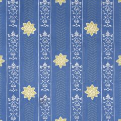 'Valencia' Floral Leaf Designer Fabric in Lapis Blue