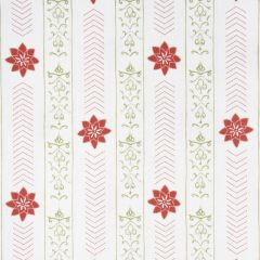 'Valencia' Floral Leaf Designer Fabric in Raspberry & Fern