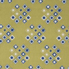 'Pilgrim' Diamond Pattern Designer Fabric in Lime & Lapis