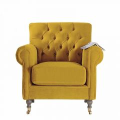 Linen Fabric Traditional Classic Deep Buttoned Armchair