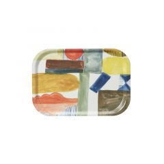Melamine Gloss Serving Tray Abstract Watercolour Painted Shapes Rectangle