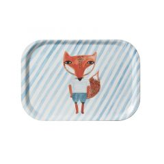 Melamine Serving Tray Painted Watercolour Small Fox Blue Stripe Rectangle