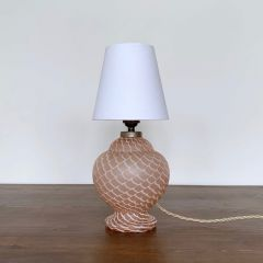 MID CENTURY CZECH PEACH GLASS LAMP