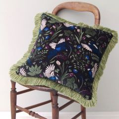 Luxury Velvet Fringe Hebden Birds Cushion in Dark Sky Blue