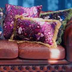Luxury Velvet Fringe Hebden Moorland Birds Cushion in Heather
