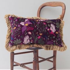 Luxury Velvet Mill Cushion in Heather Bird