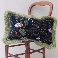 Luxury Velvet Mill Cushion in Moss Green Bird