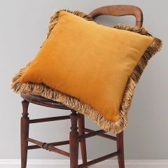 Luxury Velvet Fringe Hebden Cushion in Gorse