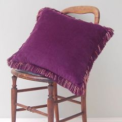 Luxury Velvet Fringe Hebden Cushion in Heather