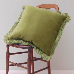 Luxury Velvet Fringe Hebden Cushion in Moss Green