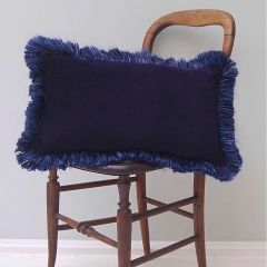Luxury Velvet Mill Cushion in Dark Blue Sky