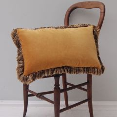 Luxury Velvet Mill Cushion in Gorse Yellow