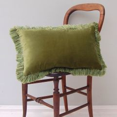 Luxury Velvet Mill Cushion in Moss Green