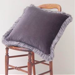 Luxury Velvet Fringe Hebden Cushion in Smoke Grey
