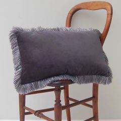 Luxury Velvet Mill Cushion in Smoke Grey