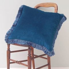 Luxury Velvet Fringe Hebden Cushion in Stream Blue