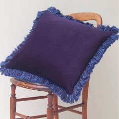 Luxury Velvet Fringe Hebden Cushion in Dark Sky Blue