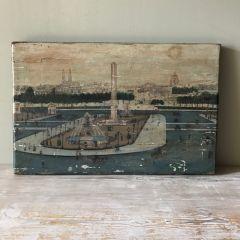 Naïve Folk Art Painting Of Place De La Concorde