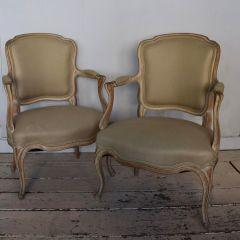 Pair of Louis XV Style Fauteuil Chairs