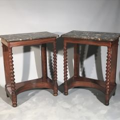 Pair of French console tables with barley twist columns