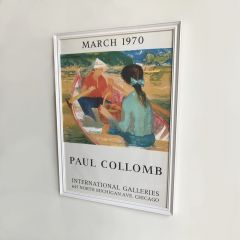 Vintage 1970s Framed Exhibition Poster for the work of Paul Collomb
