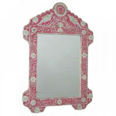Elegant Pink Mother of Pearl Floral Mirror