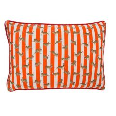 Handmade Racing Rabbits Red Stripe Rectangular Cushion