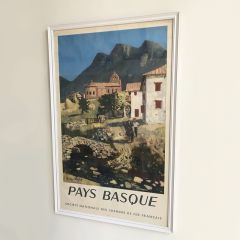 1950s Vintage French Railway Framed Poster Advert for The Basque Country
