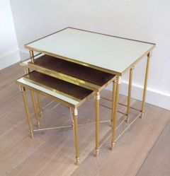 1960s Set of 3 Nesting Tables With Mirror Tops