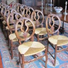 Set of 12 early 19th Century French Provencal Dining Chairs