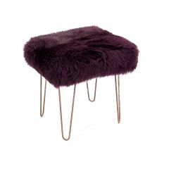 Sheepskin Stool Metal Hairpin Antique Copper Legs Seat Aubergine Purple