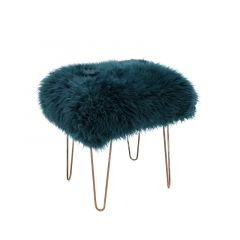 Sheepskin Stool Metal Hairpin Antique Copper Legs Seat Teal Green Blue