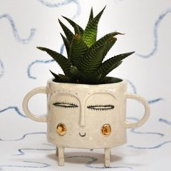 Small Succulent Handmade Ceramic Planter with Gold Lustre Cheeks