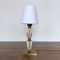 SMALL BRASS AND CRYSTAL LAMP