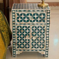 Teal Mother of Pearl Indian Style Star Bedside Table