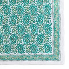 Vibrant Paisley Tablecloth in Aqua