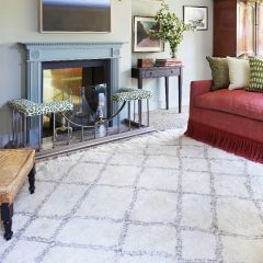 Atlas VII Vintage Chunky Knot Wool Rug with Diamond Design