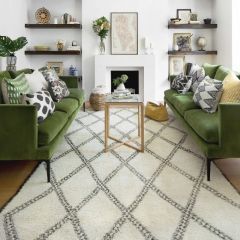 Atlas II Vintage Chunky Knot Wool Rug with Stylish Diamond Motif