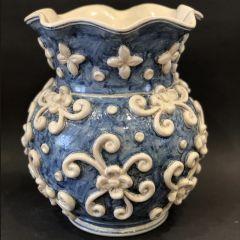 Traditional Blue Vase Aristocratic Handmade Ceramic