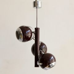 Vintage Burgundy Chrome Spherical Atomic Ceiling Pendant