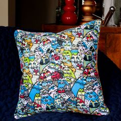 Vintage Blue China Cats Cushion