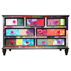 Vintage Upcycled Patchwork Merchants Chest of Drawers
