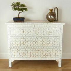 Vintage White Mother of Pearl Indian Style Star Chest